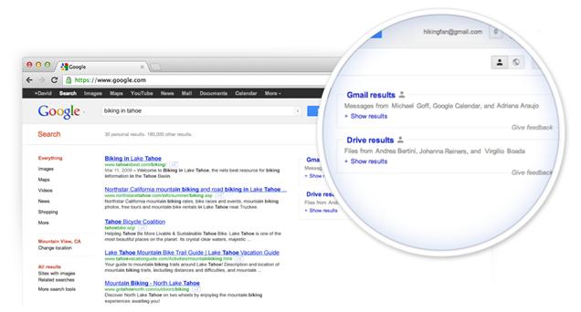 Gmail et Drive dans les résultats de recherche