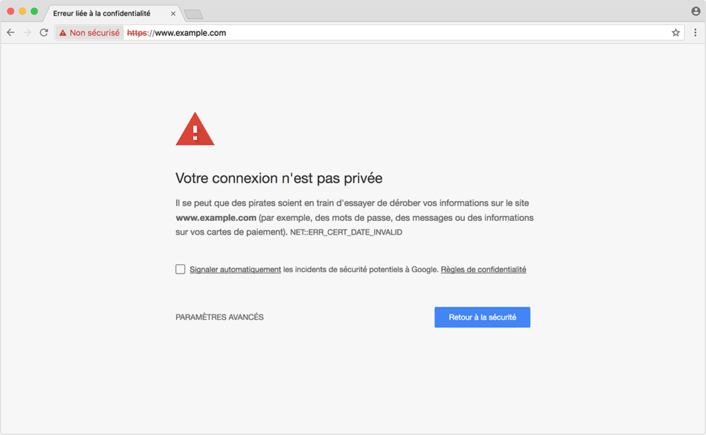 Googl Chrome certificat ssl désapprouvé