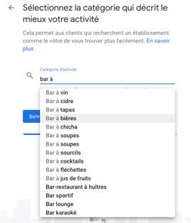catégorie établissement google my business
