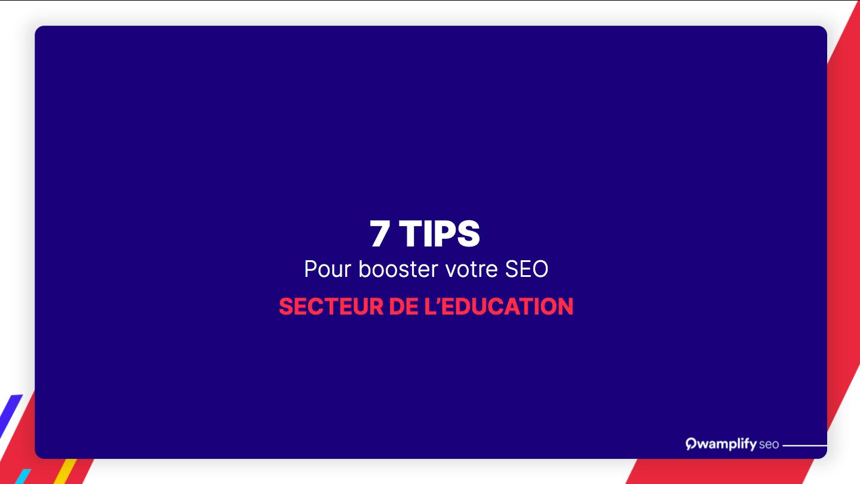 7 tips pour le SEO dans l'education