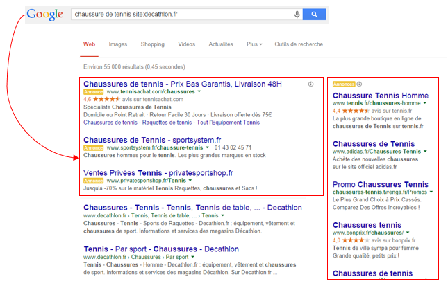 Annonce Adwords - Searchbox