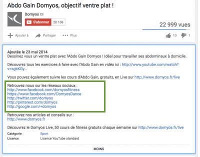 description vidéo Youtube